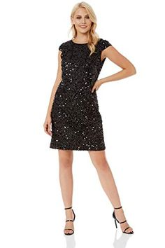 be3ed5fd94 Roman Originals Womens Sequin Tinsel Shift Little Black Dress - Ladies  Christmas Party Evening Going Out Sequined Sparkle Round Neck Knee Length  Tunic Shift ...