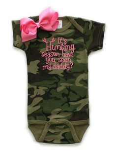 Hunting Season Camo Pink Onesie With Bow Wholesale Baby Shower Gifts | All That Sass Boutique  http://www.allthatsassboutique.com/collections/retail/products/hunting-season-camo-pink-with-bow