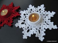 """Ravelry: Candle Holder """"Melting Snowflake"""" Tutorial Pattern pattern by Lyubava Crochet. would look great with a battery candle."""