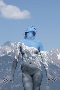 Body painting, woman in the mountain
