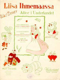 Vintage Disney Alice in Wonderland: Sheet Music Song Book from Finland: