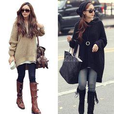 Womens Korean Knitwear Knitting Loose Long Irregular Hem Hooded Sweater Coat Outerwear-Sweaters / Cardigans-Shop DRESSLINK.COM - The worlds premier online fashion destination | DRESSLINK.COM | Womens designer clothes, shoes, bags & accessories