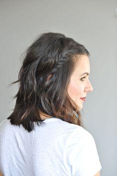fishtail braid half up short hair via @mystylevita
