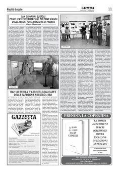 """La Gazzetta del Sulcis. N. 603 del 1 novembre 2012. """"San Giovanni Suergiu. I 50 anni della ricostruita frazione di Palmas""""."""