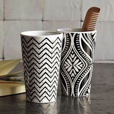 graphic porcelain tumblers