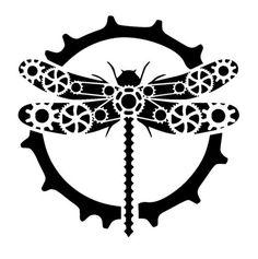 steampunk cogs dragonfly stencil