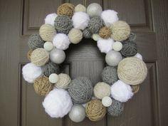 Handmade Winter Yarn Ball Wreath. Holiday by EmbellishedLiving