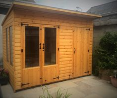 10 x 7 Summerhouse & Shed combined, Pent Roof, Double Glazed Units, Treated with Red Cedar wood preservative