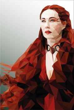 Game of Thrones Melisandre. Low Poly Portrait