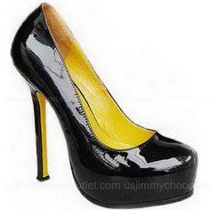 YSL Pumps Yves Saint Laurent Black Leather Yellow Inside -$215