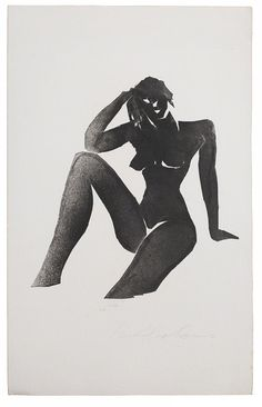 nude black and white painting, matisse like  IVOR ABRAHAMS, Naiades Series (4 parts), 1980