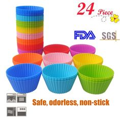 HMLifestyle- Non Stick Silicone Baking Cups 24pcs Baking Muffin Cups Molds,Vibrant Round Reusable Truffle Cups Cupcake Liners for Party,Wedding- Cupcake Holders Gift set(8 Random color,Heat Resistant) *** Remarkable product available  : Baking Accessories