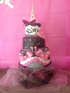 Paris pink and black bling cake