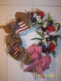 XL Burlap Floral 4th of July Patriotic Door or Wall Wreath Americana Country | eBay