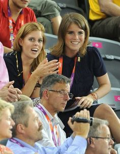 Princess Beatrice and Princess Eugenie watch the the Olympic cycling at Velodrome in London