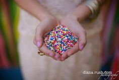 throw sprinkles instead of rice for colorful pictures!