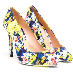 MSGM Floral Printed Pointed Pumps ($165) ❤ liked on Polyvore featuring shoes, pumps, heels, printed shoes, slip-on shoes, floral print shoes, floral print pumps, pointy toe pumps and heel pump