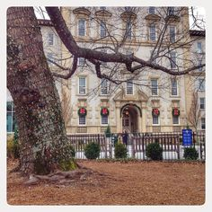 The #Emory University Hospital is dressed up for the season, complete with bows and sparkling lights.