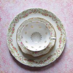 Vintage Mismatched Bone China Set Three Pieces by MiladyLinden