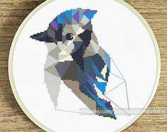 Geometric cross stitch pattern Lovebird cross stitch pattern