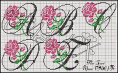 Aline Ponto Cruz e Artesanato: Monograma de rosas
