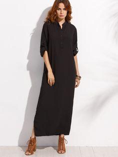 Dresses by BORNTOWEAR. Roll Sleeve Half Placket Shirt Dress