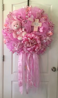 1000 ideas about baby girl wreaths on pinterest baby for Baby girl hospital door decoration