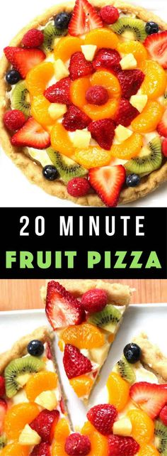 Fruity Pizza - The easiest and most unbelievably beautiful fruit pizza or fruity sugar cookie cake has a soft sugar cookie crust and smooth creamy filling, topped with fresh fruits. All you need is a few simple ingredients: refrigerated sugar cookie dough, cream cheese, sugar, vanilla extract and fruit of your choice! A simple dessert you whole family will be obsessed with. It takes only 20 minutes to make. Perfect for holiday party dessert such as Easter, Mother's Day, Father's Day or birth...