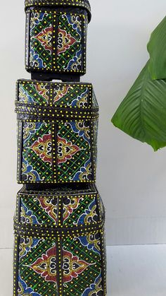 3 bamboo baskets hand painted by Lesflibustieres on Etsy