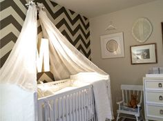 Jason and Molly Mesnick's #Nursery - #chevron makes the perfect #accentwall