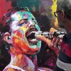 Putting the finishing touches to 'Freddy Mercury' painting. I paint with large brushes and vibrant colours in acrylic paints. (can you spot my grandson who was visiting that day) Voka Art, Painted Rock Animals, Acrylic Artwork, Modern Art Paintings, Freddie Mercury, Art Drawings, Contemporary Art, Original Art, Pointillism