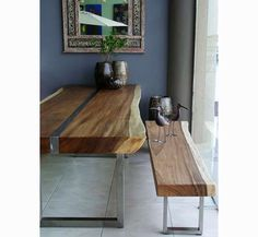 suar and stainless steel table