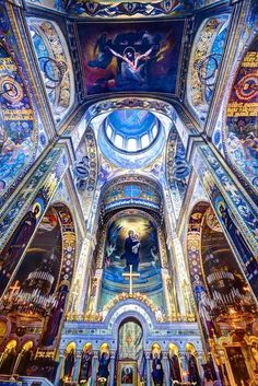 Byzantine (500-1500 AD) A grand church in Russia. This era was the beginning of the 'dome', and was always painted in a spectacular and detailed fashion.