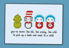 Featuring Grinch, Cat and the Hat, Thing 1 and 2 This listings is for a virtual pattern that you can print off at home, or view via a computer or tablet. All patterns are downloadable in PDF format, and require Adobe Reader or Preview for Mac to view/pri