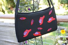 Red Hat Society Lady handbag Black with Red hats