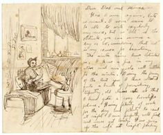 A handwritten letter with illustrations by the American artist Thomas Hart Benton (1889-1975)