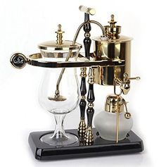 DGCoffee Belgian Belgium Luxury Royal Family Balance Syphon Coffee Maker Classic Double Column Top Grade, Classic and Elegant Design (Golden)