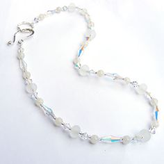 Lampwork bead and swarovski crystal necklace with sterling silver clasp