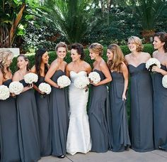 Fall Wedding Ideas - For your bridesmaid dresses, opt for slightly darker shades of your favorite summer colors, like charcoal instead of elephant grey or dusty rose over blush. 2015 Wedding Dresses, Wedding Bridesmaid Dresses, Dark Grey Bridesmaid Dresses, Bridesmaid Color, Dessy Bridesmaid, Grey Dresses, Dresses Dresses, Dresses Online, Perfect Wedding