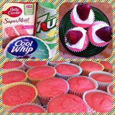 Lite Strawberry Cupcakes!  Less than 100 calories each. Replace all ingredients on package with 12oz Diet 7-up and bake as directed....