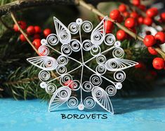 Flocon de neige seule partir ensemble VAIL - papier cadeau fait à la main de piquants ornement - décoration de Noël-
