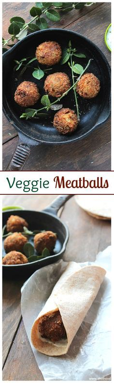 """Delicious vegetarian """"meatballs"""" made with potatoes, carrots, onions and spices, served with a side of yogurt sauce."""