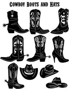 Western Cowboy Boots and Hats -DXF files and SVG cut ready for cnc machines, laser cutting and plasma cutting Cowboy Boots Drawing, Cowboy Boot Tattoo, Boots Cowboy, Western Boots, Cowboy Western, Cowgirl Tattoos, Line Dance, Westerns, Cnc Maschine