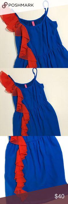 Dress Blue and Orange Dress. Spaghetti Strap Blue Dress w/Orange Ruffle. NBW w/tags. Size Medium fashion spy Dresses