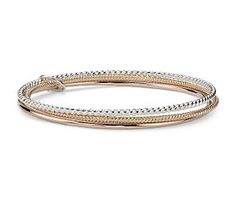 Tri-Color Bangle in Yellow Gold Vermeil, Rose Gold Vermeil and Sterling Silver #BlueNile