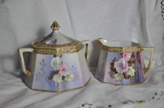 Art Deco NipponNoritake Creamer and Sugar Hand by RudyToots, $35.00