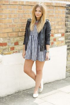 uk fashion blogger. So stinkin cute! Black and white checkered patterned pepper Sleeveless Smock Dress in Gingham asos.com $84.85, black leather jacket from Primark, white River Island loafers flats with gold toe detailing, and multicolored necklace. LOVE!