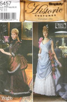 Victorian 1889's Historic Costume Bustle dress sewing pattern