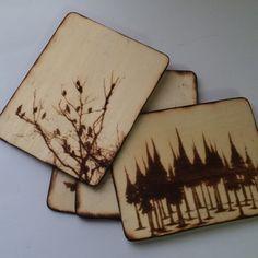 Wood Burned Coaster Set• Nature/ Tree Themed • Set of 4 by MShelsJewels on Etsy https://www.etsy.com/listing/488132814/wood-burned-coaster-set-nature-tree