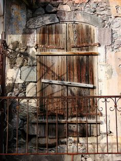 Decayed balcony in the centre of Basse-Terre, Guadalupe, French West Indies (Lesser Antilles).